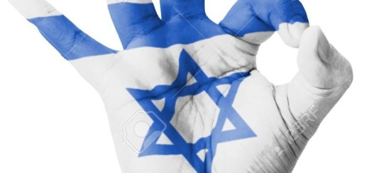 Hand making Ok sign, Israel flag painted as symbol of best quality, positivity and success - isolated on white background